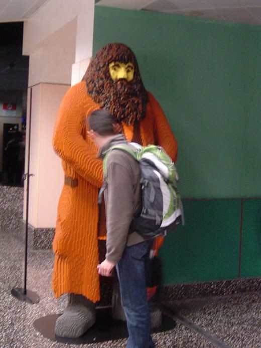 Hagrid's figure made of LEGO blocks at Milano Linate airport