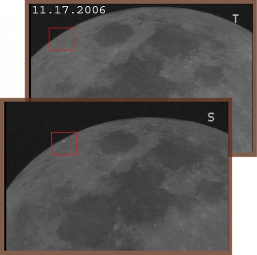 Transient lunar phenomenon observed November 17, 2006 from separate telescopes at the Automated Lunar and Meteor Observatory (ALaMO).