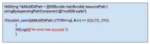 Parsing the SQLite database path to the open command