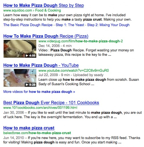 "An example showing video results and video thumbnails in positions 2 and 3 on a Google SERPs for ""how to make pizza dough."""
