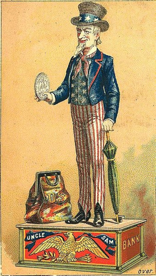 "Trade card: ""Uncle Sam"" toy savings bank"