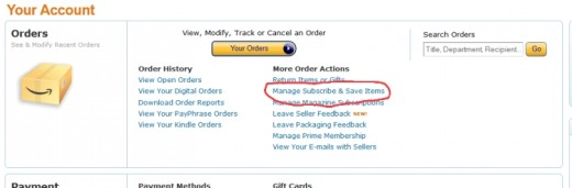 Manage subscribe and save subscriptions easily from any valid Amazon account page.