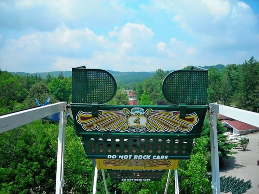 A view of the mountains from the top of the Ferris wheel at Idlewild and SoakZone