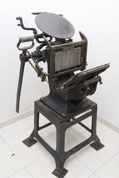 older manual printing machine