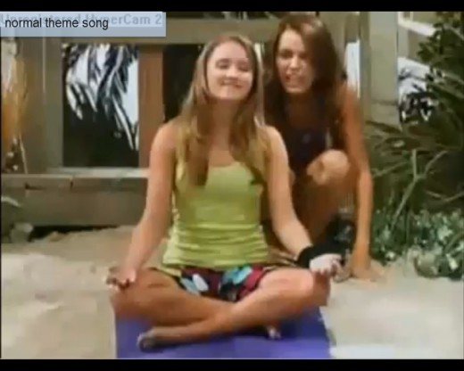 This is Hannah Montana's best friend (Emily Osment) meditating on this music video from the opening of one of the shows. Watch this 50 second song by clicking on link below. Osment is a singer  & actress now and in a 2013 movie called Kiss Me.