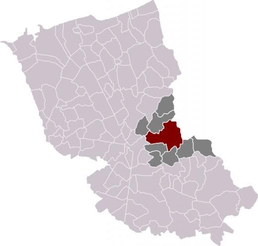 Map location of Steenvorde, in Dunkirk 'arronsdissement'.
