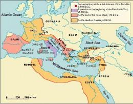 Map showing the Roman Republic
