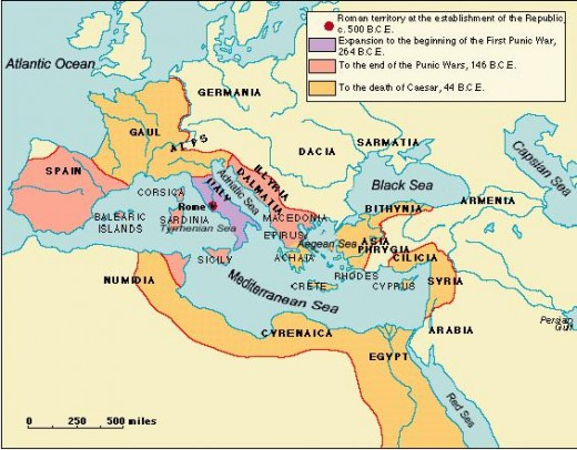 Map showing the Roman Republic
