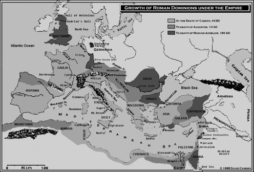 Map showing the expansion of the Roman Empire
