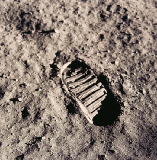This is Neil Armstrong's first boot print on the moon. From looking at it, you can see how find the powdered regolith is just by the sharp definition of the boot print. The surface dust is a fine as talcum powder.
