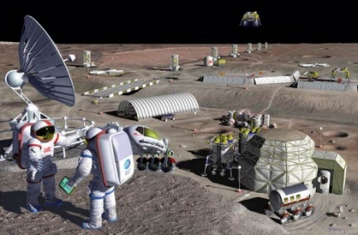 A mining moon base for all kinds of raw resources is a good project for the processing of loose regolith into usable objects both for the lunar colony and for building megaprojects in space.