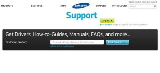 The Samsung Support website.