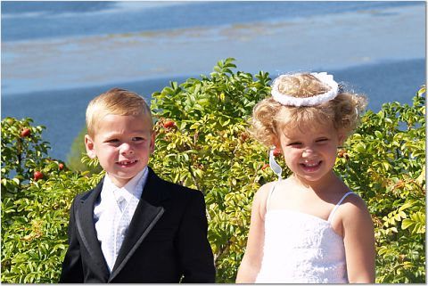 This flower girl and ring bearer are 5 years old