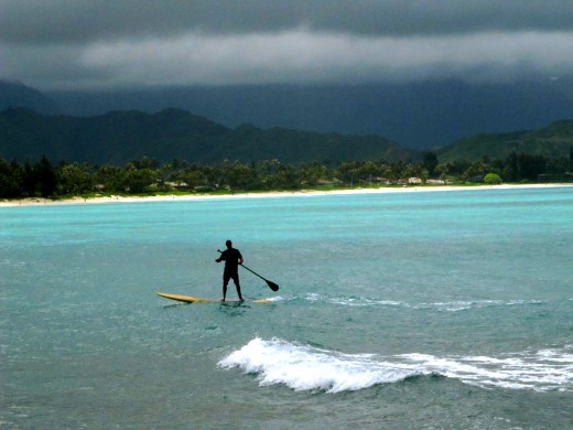 Paddleboarding out by Flat Island in Kailua, Hawaii
