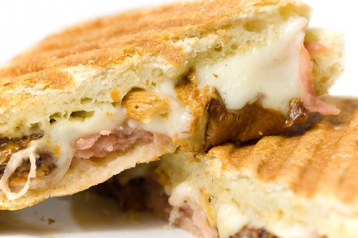 The prosciutto, mushroom, onion, and cheese panini.