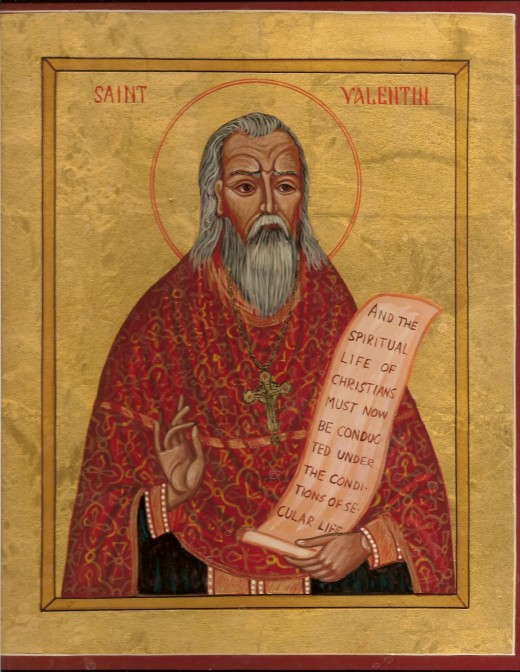 Byzantine Orthodox icon of St. Valentine. Click on image to enlarge.