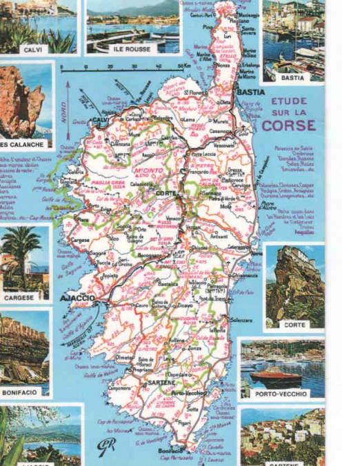 Map of Corsica island.  Click on the map to enlarge.