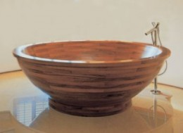 A polished, beautiful teak tub