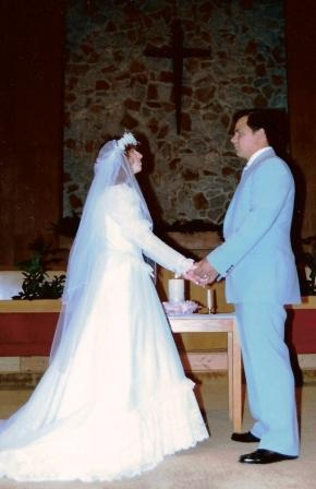 The author and her husband marry at First Church of the Nazarene in El Paso, TX in a Christian ceremony.