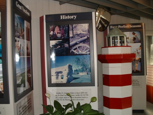 The welcome center has beautiful exhibits and many brochures, pamphlets and booklets about activities, events, lodging and historic locations on the island.