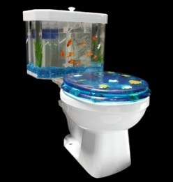 Extreme Fish Aquarium designs combine business with relaxation in the bathroom.