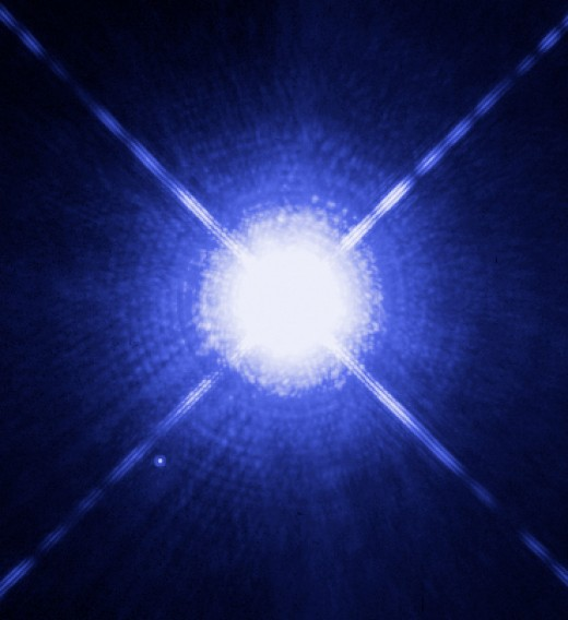 Sirius A and B stars, 8.72 Light Years away from us. Hubble photo.