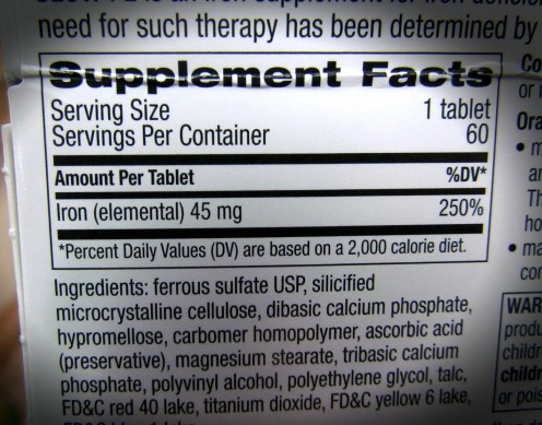 This box contains iron with 45mg of Elemental Iron per tablet.