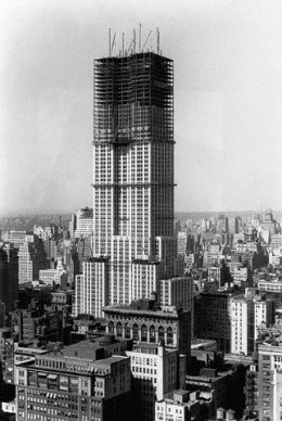 The Empire State Building under construction.