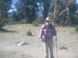 Yours truly with his trusty hiking pole, near Round Top Lake, in California's Northern Sierra high country.
