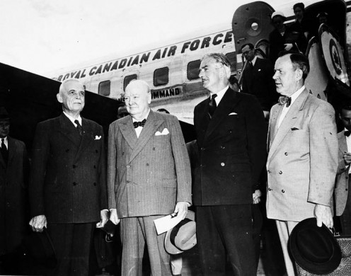 (Left to right:) Prime Minister Louis St. Laurent, Sir Winston Churchill, Sir Anthony Eden and Lester B. Pearson, Ottawa, 1954