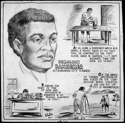 Cartoon Depiction of Benjamin Banneker. Artist: Charles Henry Alston. Source:Wikimedia Commons, Public Domain.