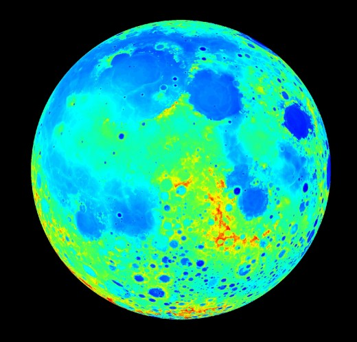 Lunar near side - lunar mares show up as depressions in the surface