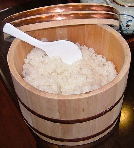 Yup- That's a BARREL of steamed rice. Delicious but carborific!