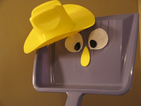 just take a real dustpan, mini plastic hat, a few pieces of felt or foam - and you've got a new character!