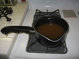 Heat chicken stock (about 3 cups). Heated chicken stock is KEY to creamy risotto.