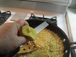 Add about 1 teaspoon of lemon zest. A micro plane works great for this. Add 3 tablespoons of your favorite jar of Pesto.