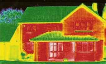 Note the red in this picture. This home is not properly insulated, and the heat loss is shown.