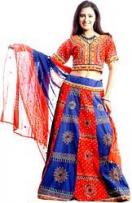 a female in gujarati dress known as chaniya choli