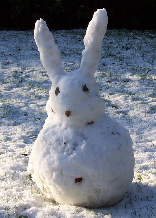 Who said it has to be a snowman? Why not a snowrabbit?