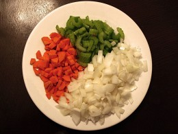 Vegetables: I like to make my chili with lots of different types of vegetabels, but you can switch them up if you want. I always use carrot, celery and onion for my vegetables base. Using a mirepoix is chili works perfectly.