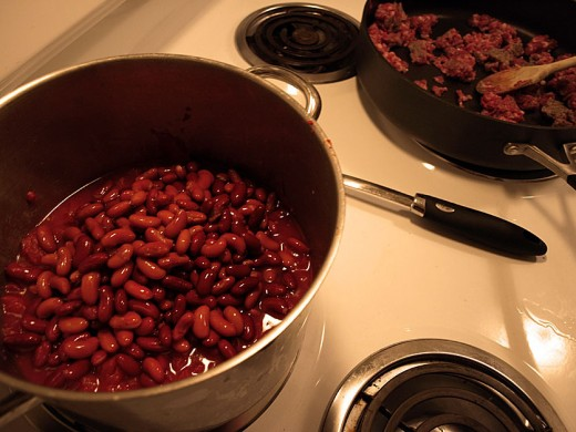 3.  Add your beans to the pot and stir.  Try not to break the beans.