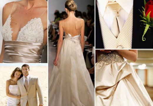 Gold with Champagne Wedding Attire Ideas