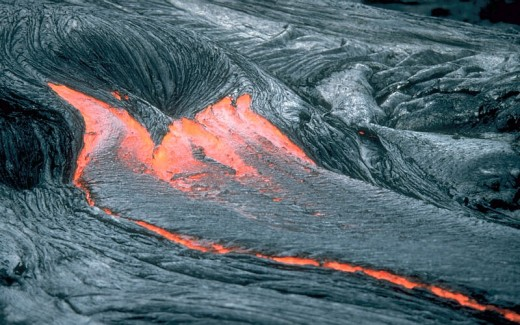 Lava or molten rocks