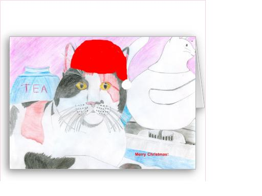 Picture of the cat I drew.  I used photo editing software to add a Christmas hat.