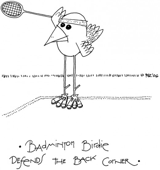 Badminton Birdie Defends the Back Corner