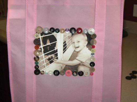 Bag with photo and embellishments added