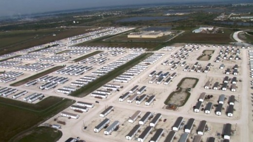 This is an areal photo of one of the FEMA camps located in the continental US. The location of this one is not specified. There are allegedly some 800 of these camps.
