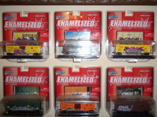 Toy freight cars a part of the 2006 graffiti diecast train collection