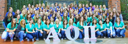 The women of Alpha Omicron Pi, Omega Upsilon Chapter (Ohio University)