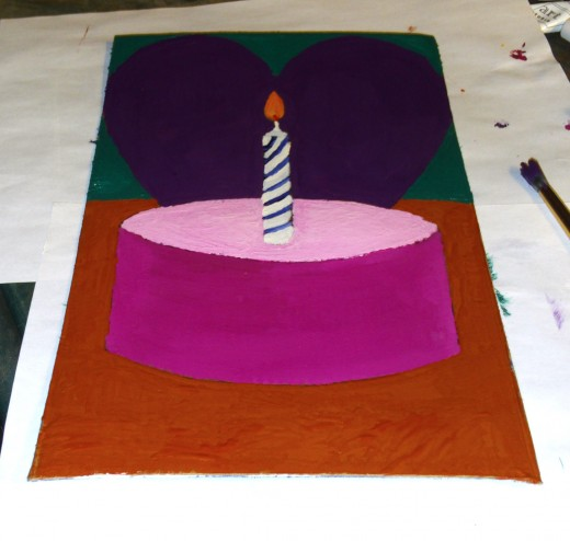 Here I painted a picture of a birthday cupcake Valentine on a card.